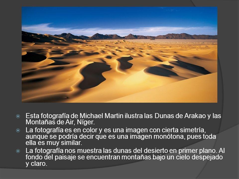 Esta fotografía de Michael Martin ilustra las Dunas de Arakao y las Montañas de Air, Níger. La fotografía es en color y es una imagen con cierta simet