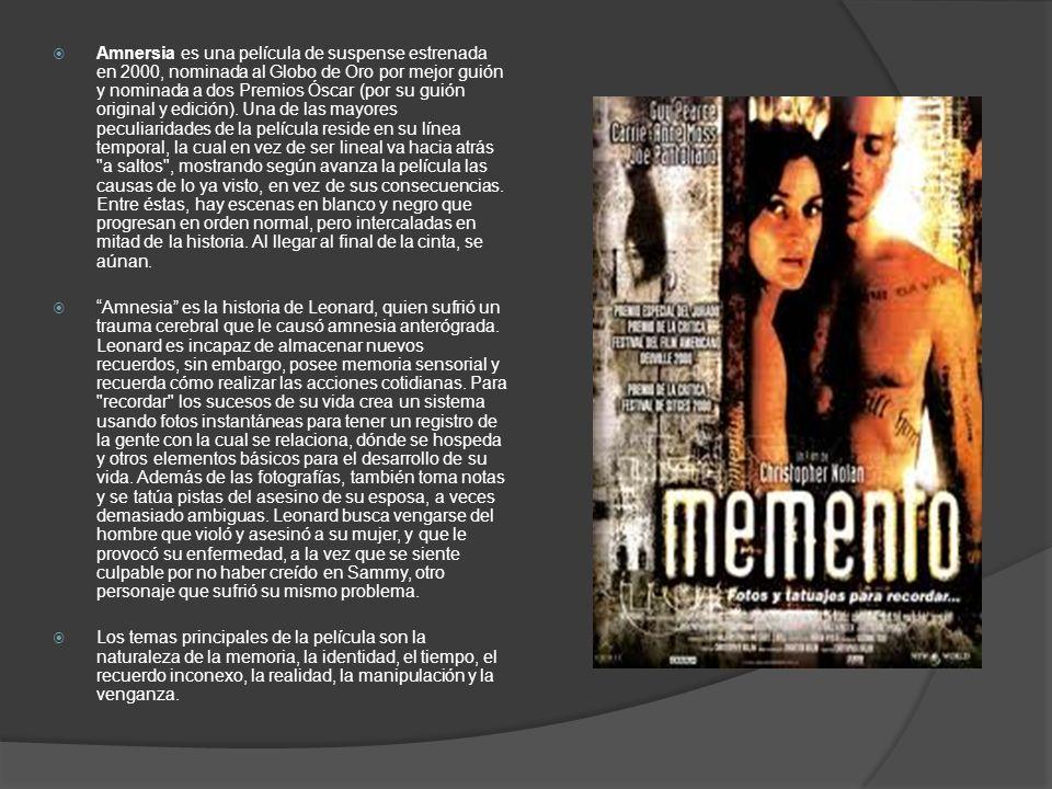 Amnersia es una película de suspense estrenada en 2000, nominada al Globo de Oro por mejor guión y nominada a dos Premios Óscar (por su guión original
