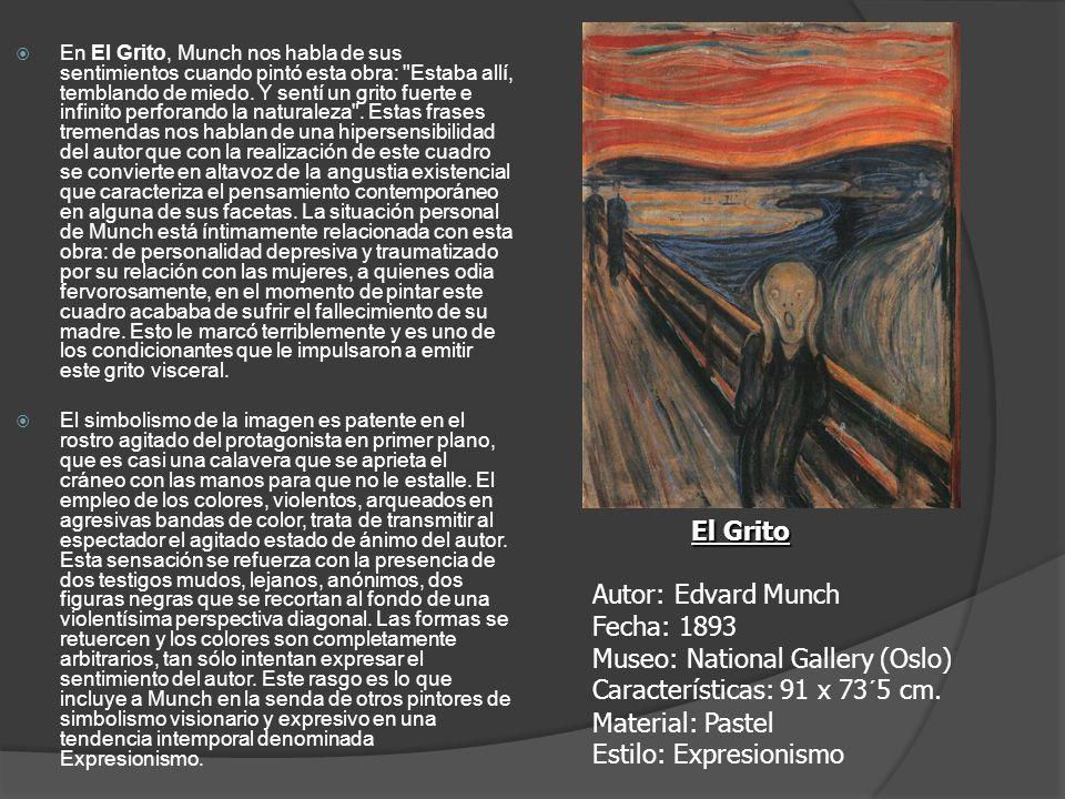 En El Grito, Munch nos habla de sus sentimientos cuando pintó esta obra: