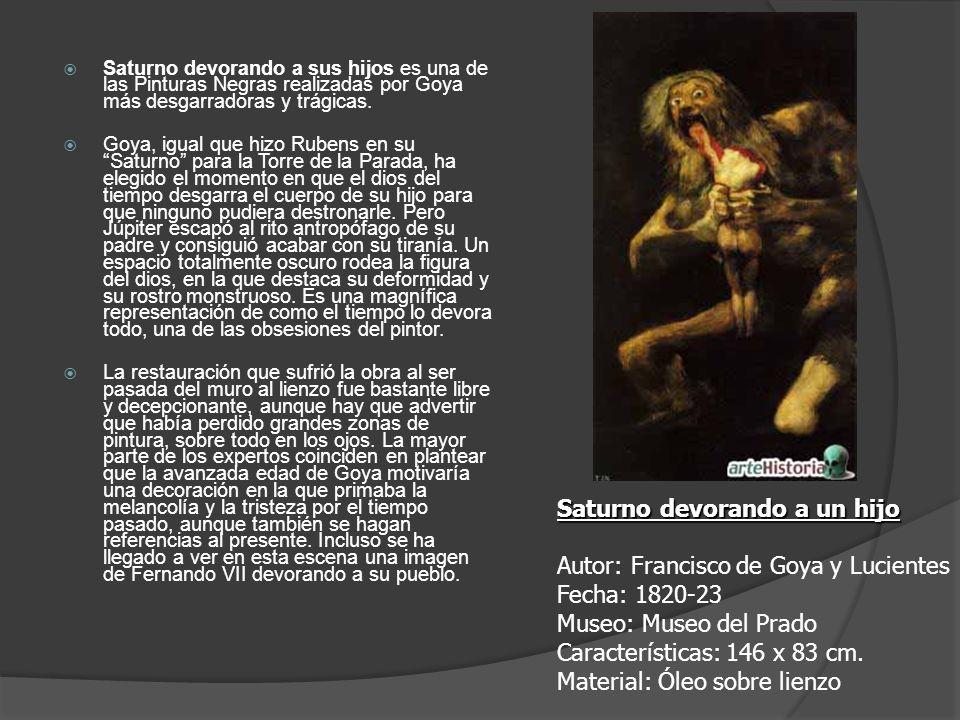 Saturno devorando a sus hijos es una de las Pinturas Negras realizadas por Goya más desgarradoras y trágicas. Goya, igual que hizo Rubens en su Saturn