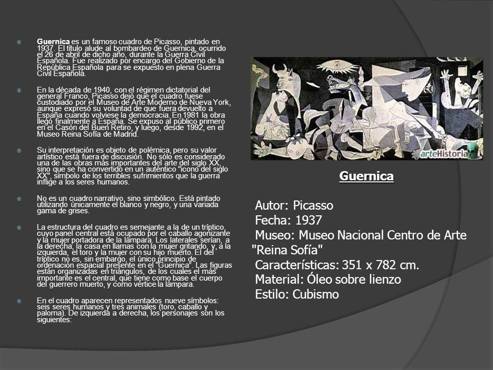 Guernica es un famoso cuadro de Picasso, pintado en 1937. El título alude al bombardeo de Guernica, ocurrido el 26 de abril de dicho año, durante la G
