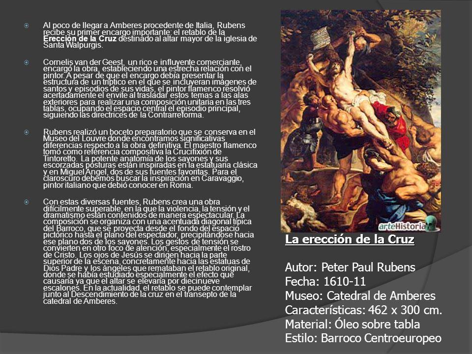Al poco de llegar a Amberes procedente de Italia, Rubens recibe su primer encargo importante: el retablo de la Erección de la Cruz destinado al altar