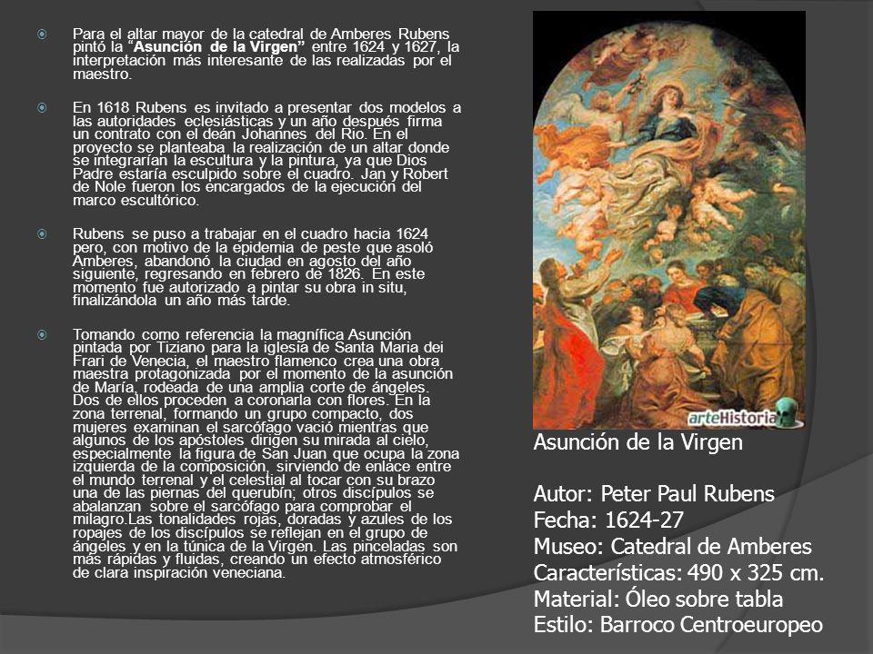 Para el altar mayor de la catedral de Amberes Rubens pintó la Asunción de la Virgen entre 1624 y 1627, la interpretación más interesante de las realiz