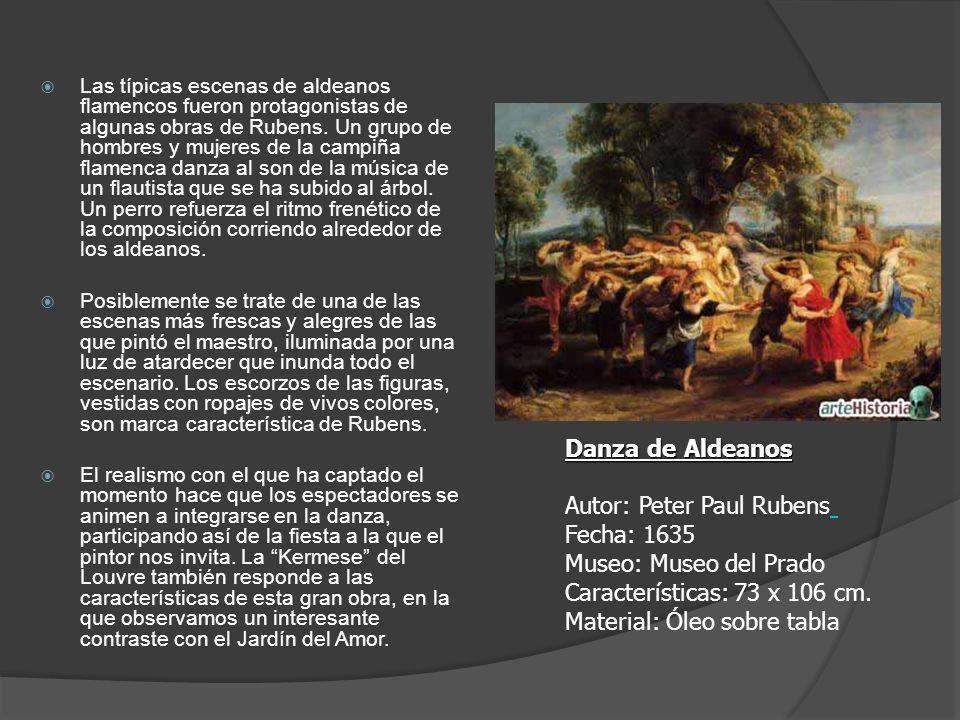 Las típicas escenas de aldeanos flamencos fueron protagonistas de algunas obras de Rubens. Un grupo de hombres y mujeres de la campiña flamenca danza