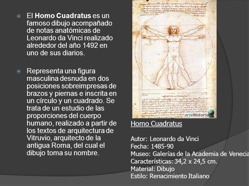 El Homo Cuadratus es un famoso dibujo acompañado de notas anatómicas de Leonardo da Vinci realizado alrededor del año 1492 en uno de sus diarios. Repr