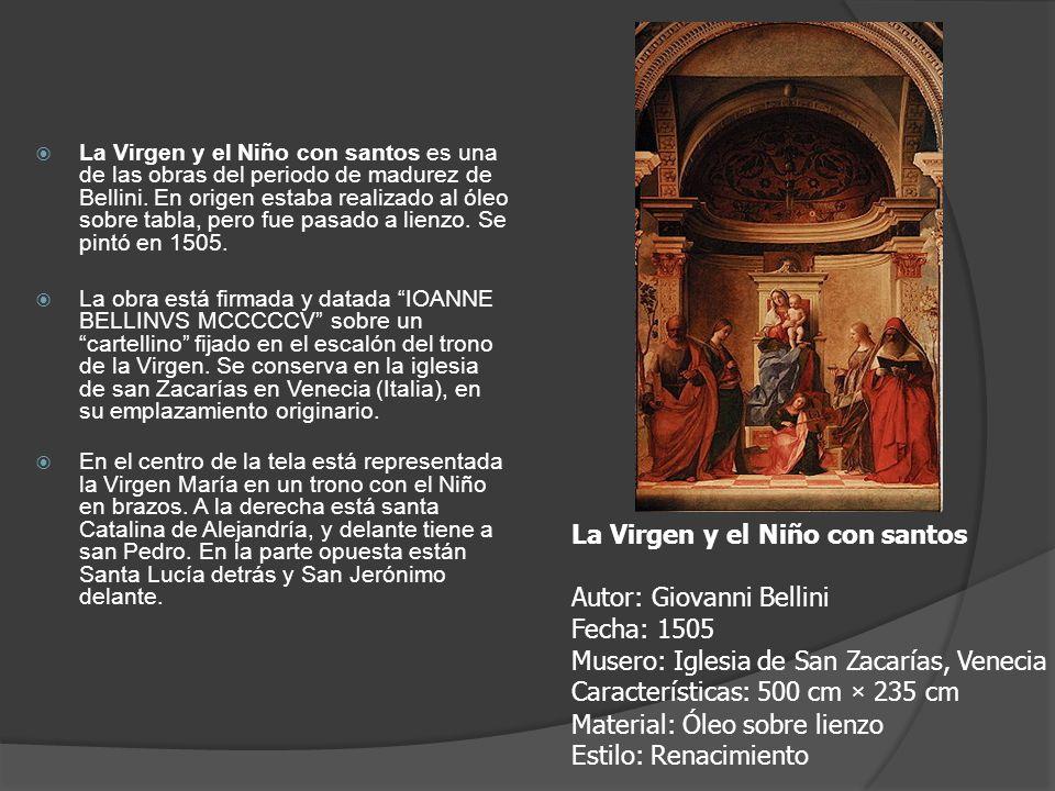 La Virgen y el Niño con santos es una de las obras del periodo de madurez de Bellini. En origen estaba realizado al óleo sobre tabla, pero fue pasado