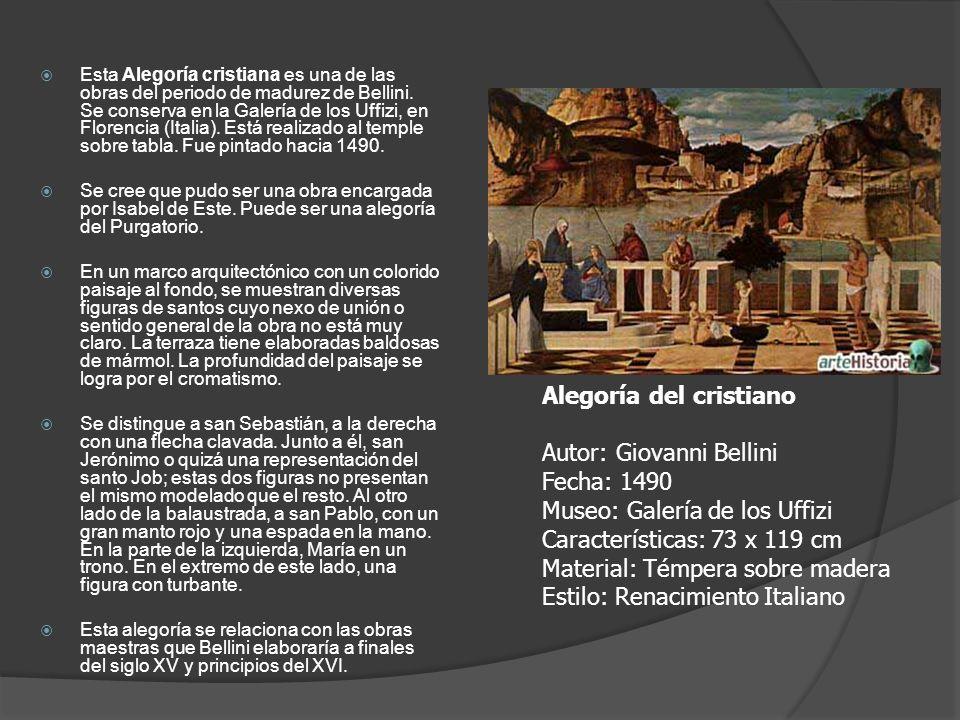 Esta Alegoría cristiana es una de las obras del periodo de madurez de Bellini. Se conserva en la Galería de los Uffizi, en Florencia (Italia). Está re