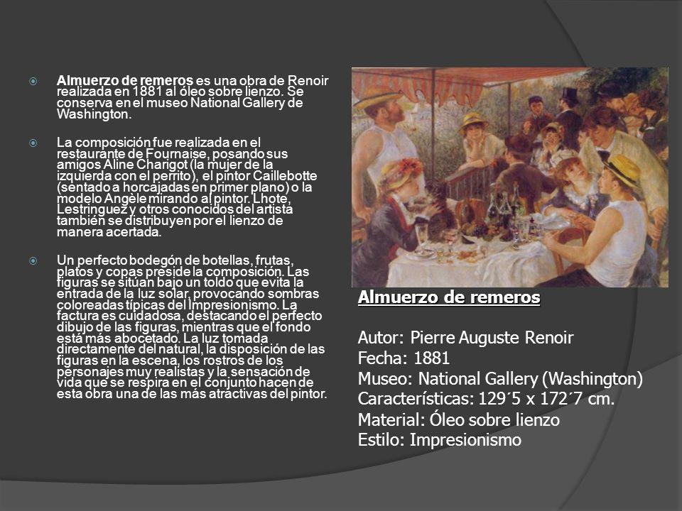 Almuerzo de remeros es una obra de Renoir realizada en 1881 al óleo sobre lienzo. Se conserva en el museo National Gallery de Washington. La composici
