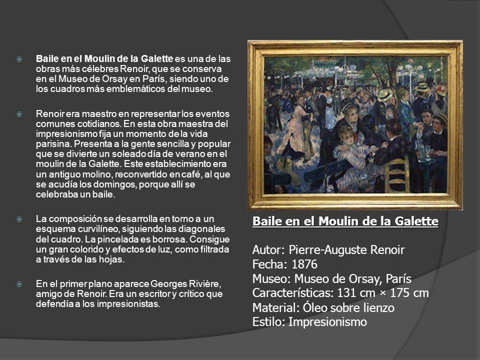 Baile en el Moulin de la Galette es una de las obras más célebres Renoir, que se conserva en el Museo de Orsay en París, siendo uno de los cuadros más