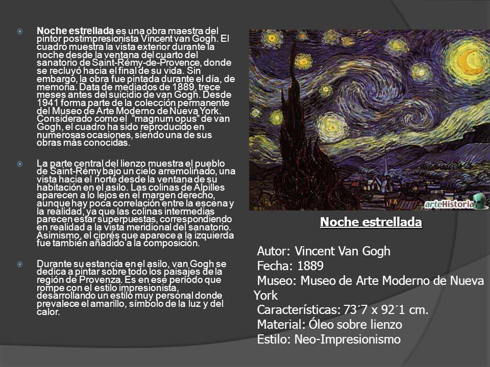 Noche estrellada es una obra maestra del pintor postimpresionista Vincent van Gogh. El cuadro muestra la vista exterior durante la noche desde la vent