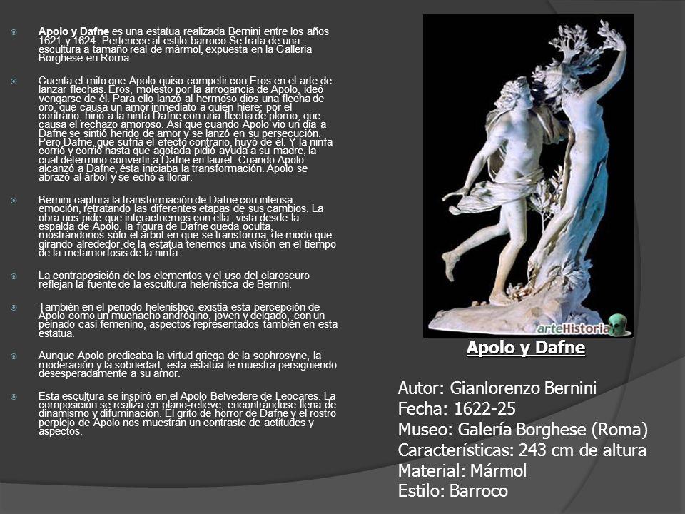 Apolo y Dafne es una estatua realizada Bernini entre los años 1621 y 1624. Pertenece al estilo barroco.Se trata de una escultura a tamaño real de márm