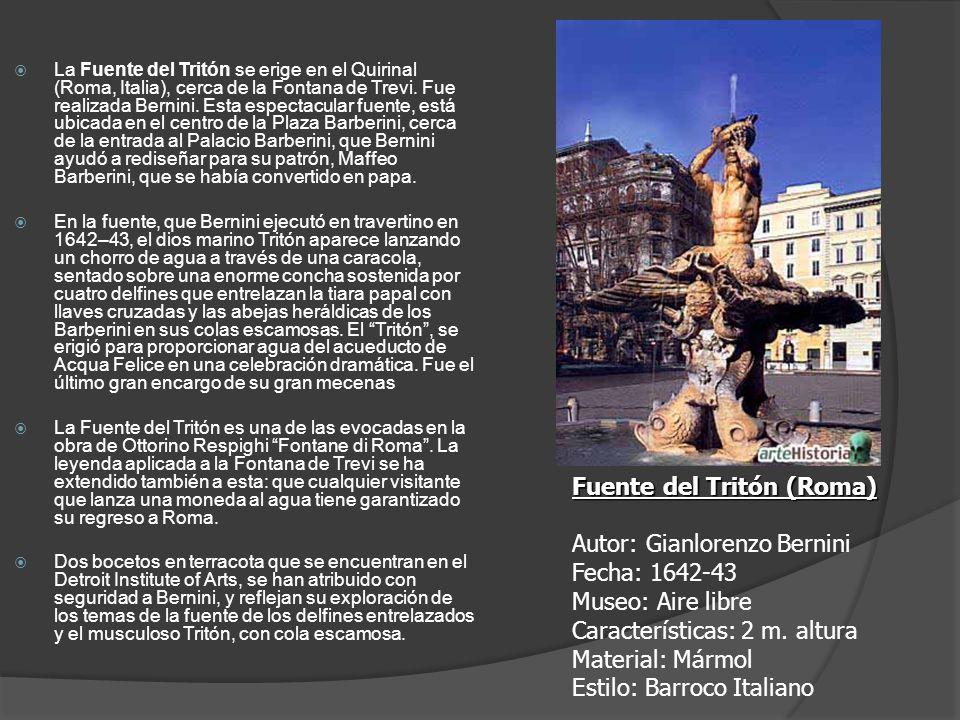 La Fuente del Tritón se erige en el Quirinal (Roma, Italia), cerca de la Fontana de Trevi. Fue realizada Bernini. Esta espectacular fuente, está ubica