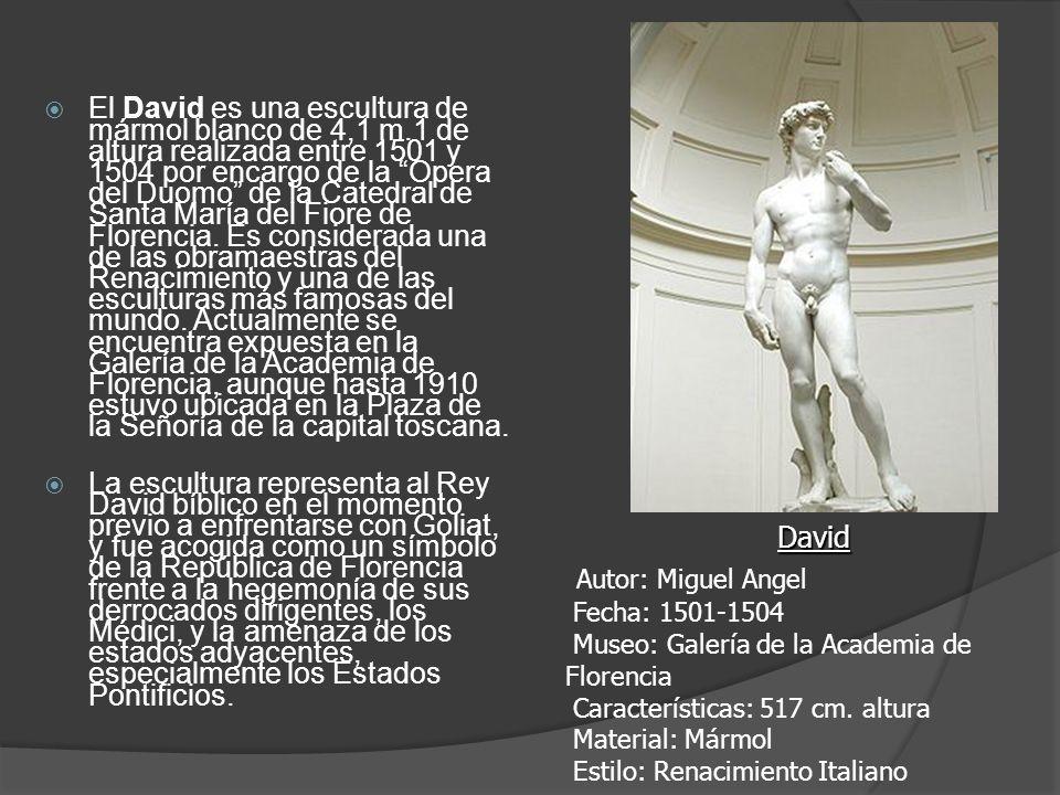 El David es una escultura de mármol blanco de 4,1 m.1 de altura realizada entre 1501 y 1504 por encargo de la Opera del Duomo de la Catedral de Santa