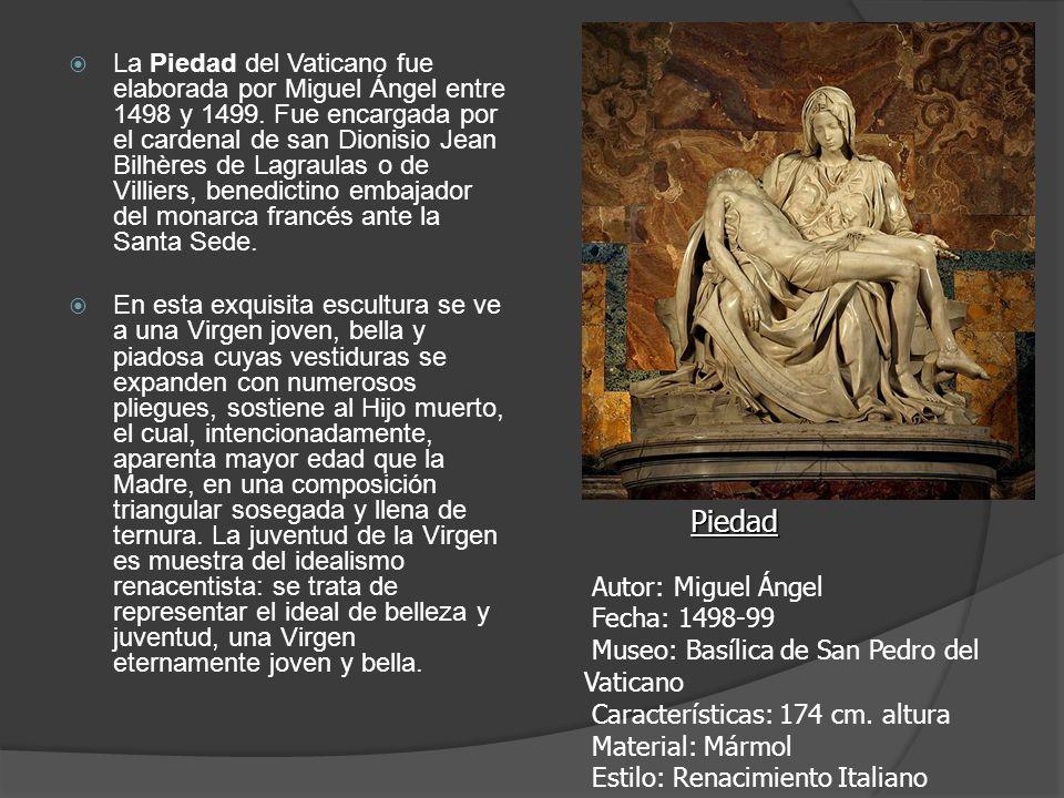 La Piedad del Vaticano fue elaborada por Miguel Ángel entre 1498 y 1499. Fue encargada por el cardenal de san Dionisio Jean Bilhères de Lagraulas o de