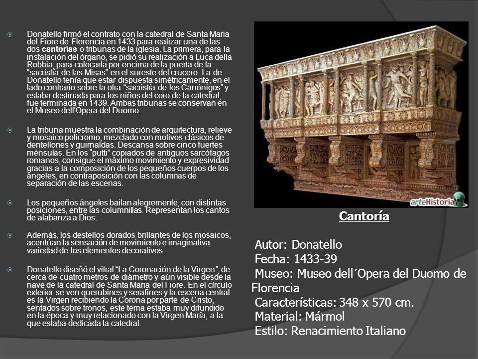 Donatello firmó el contrato con la catedral de Santa Maria del Fiore de Florencia en 1433 para realizar una de las dos cantorías o tribunas de la igle
