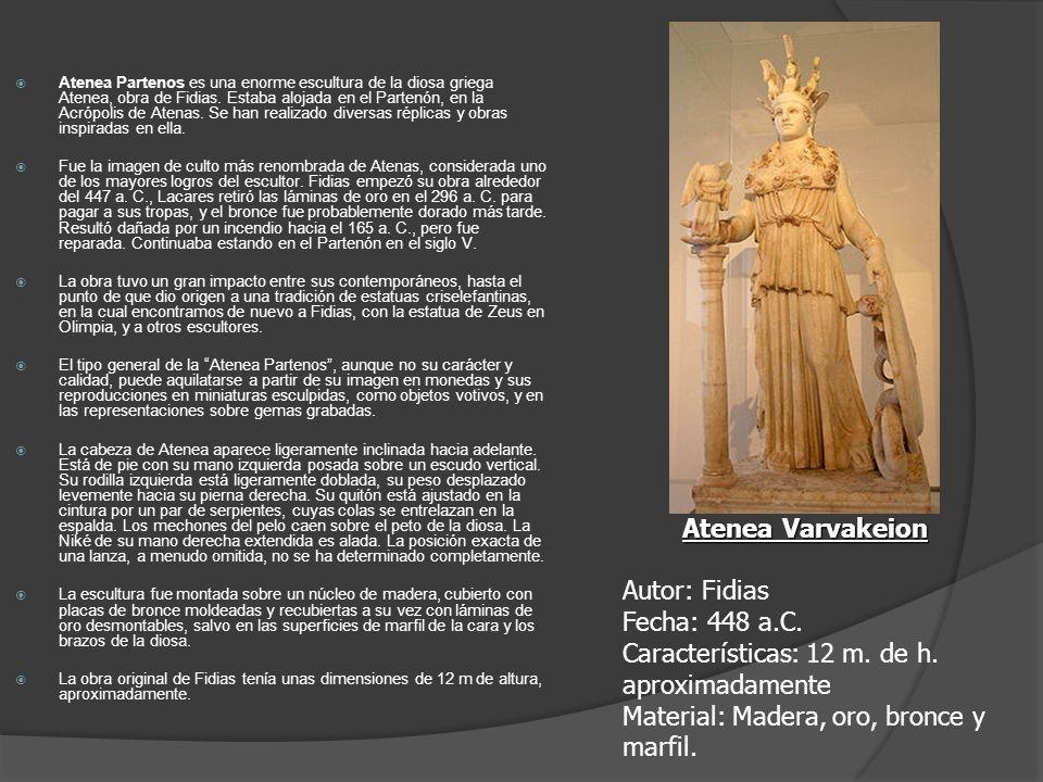 Atenea Partenos es una enorme escultura de la diosa griega Atenea, obra de Fidias. Estaba alojada en el Partenón, en la Acrópolis de Atenas. Se han re