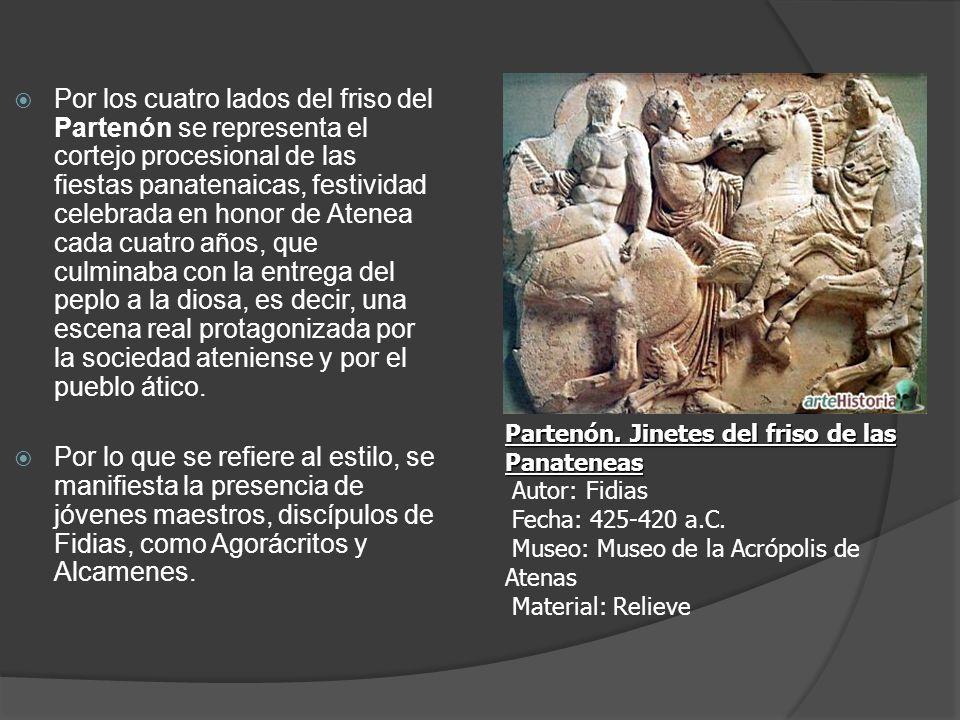 Por los cuatro lados del friso del Partenón se representa el cortejo procesional de las fiestas panatenaicas, festividad celebrada en honor de Atenea
