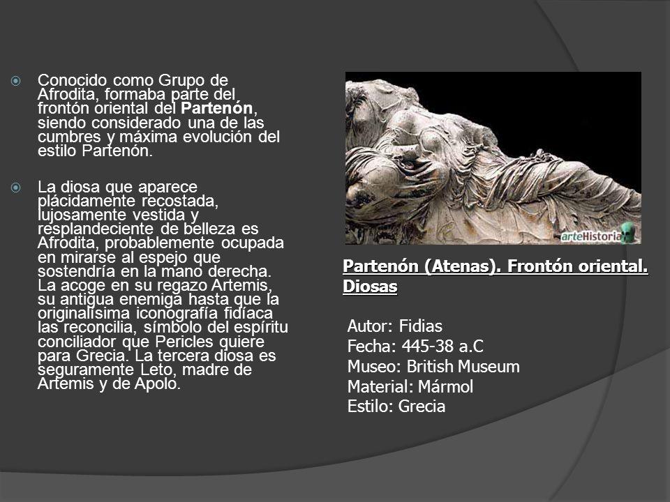 Conocido como Grupo de Afrodita, formaba parte del frontón oriental del Partenón, siendo considerado una de las cumbres y máxima evolución del estilo