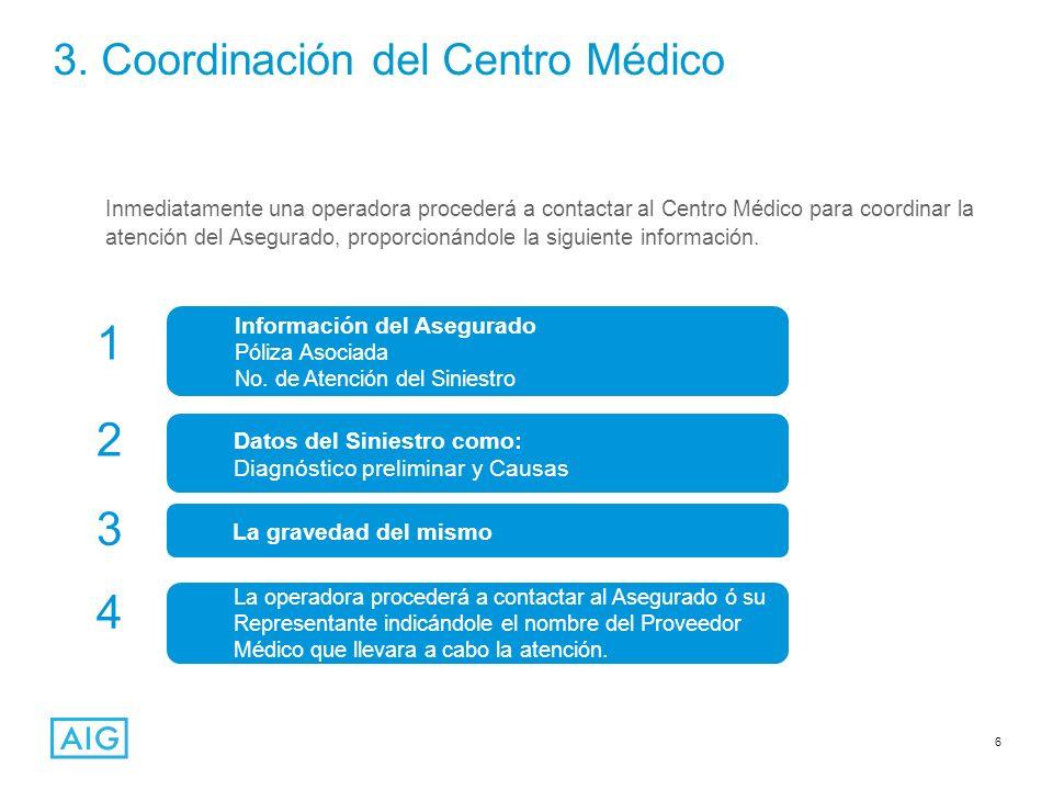 6 3. Coordinación del Centro Médico Inmediatamente una operadora procederá a contactar al Centro Médico para coordinar la atención del Asegurado, prop