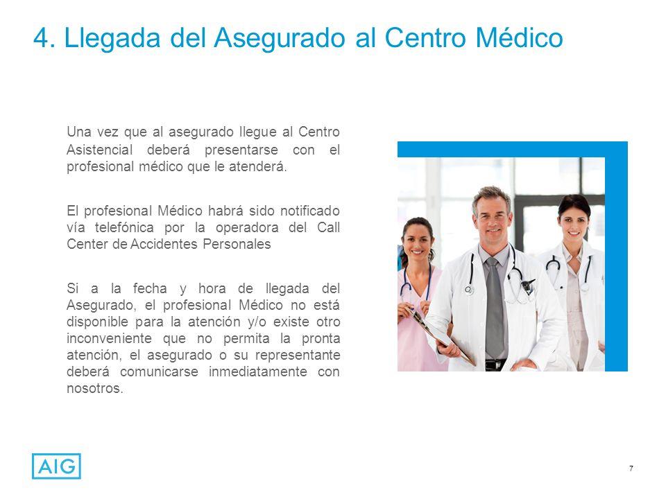 7 4. Llegada del Asegurado al Centro Médico Una vez que al asegurado llegue al Centro Asistencial deberá presentarse con el profesional médico que le