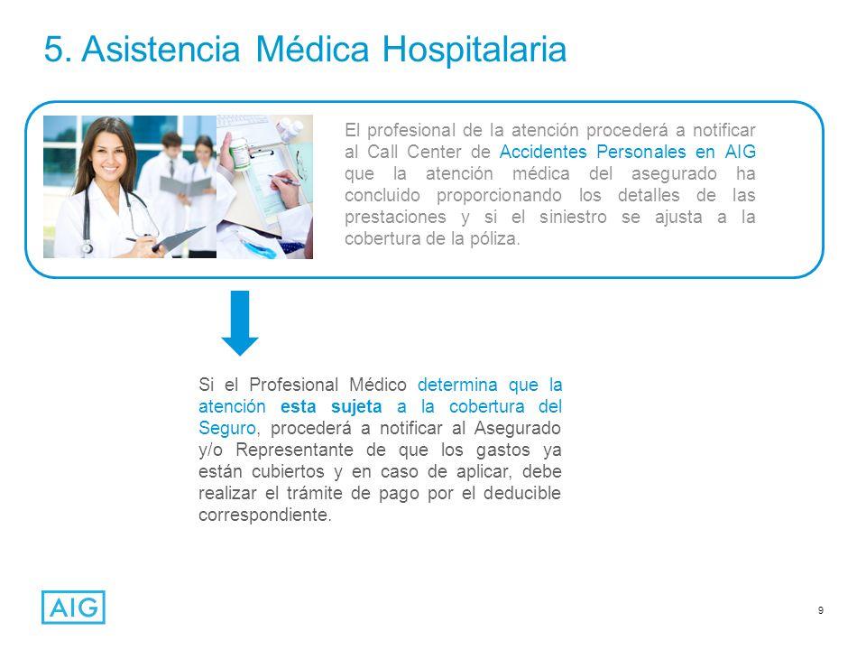 9 5. Asistencia Médica Hospitalaria El profesional de la atención procederá a notificar al Call Center de Accidentes Personales en AIG que la atención