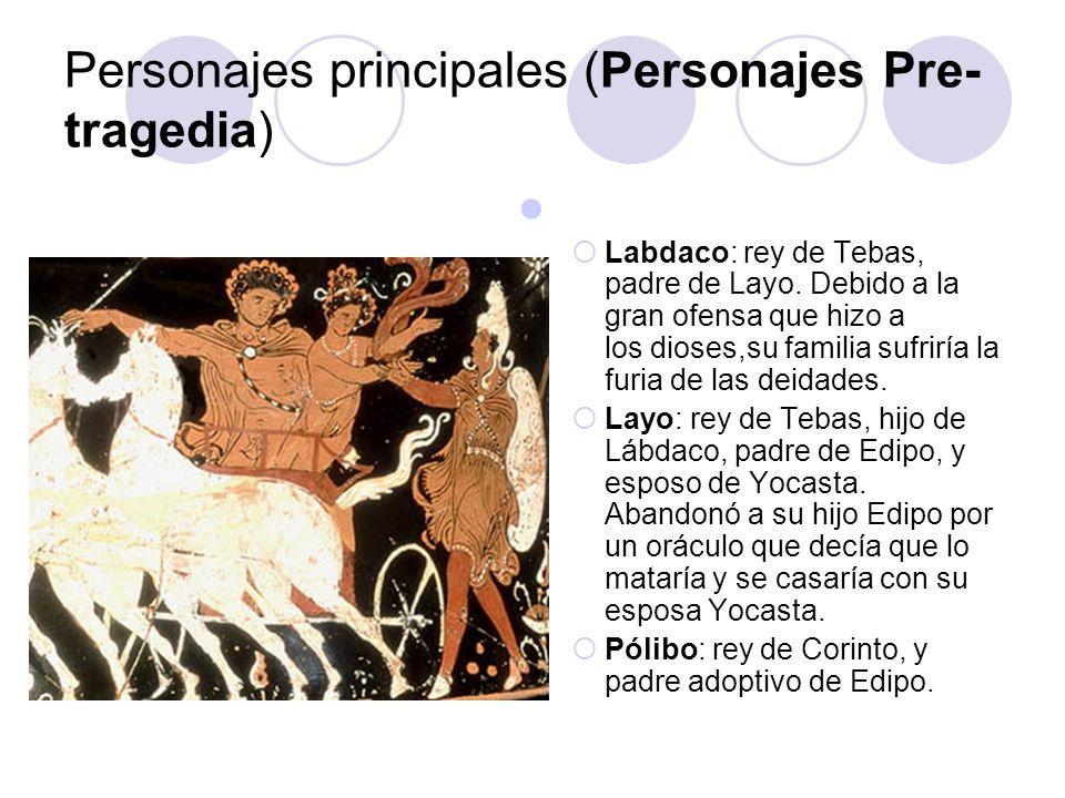 Personajes principales (Personajes Pre- tragedia) Labdaco: rey de Tebas, padre de Layo. Debido a la gran ofensa que hizo a los dioses,su familia sufri