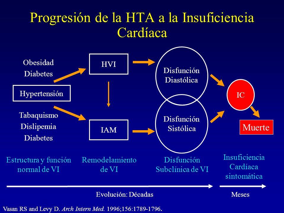 Vasan RS and Levy D. Arch Intern Med. 1996;156:1789-1796. Progresión de la HTA a la Insuficiencia Cardíaca Hypertensión Tabaquismo Dislipemia Diabetes