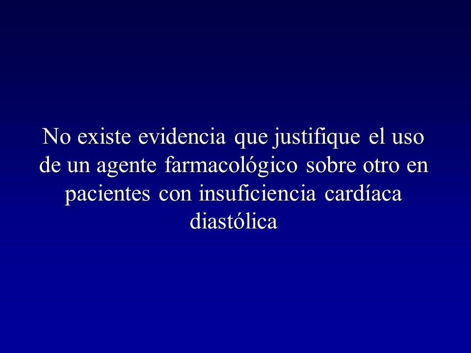 No existe evidencia que justifique el uso de un agente farmacológico sobre otro en pacientes con insuficiencia cardíaca diastólica
