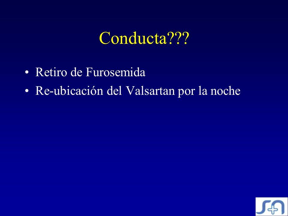 Conducta??? Retiro de Furosemida Re-ubicación del Valsartan por la noche