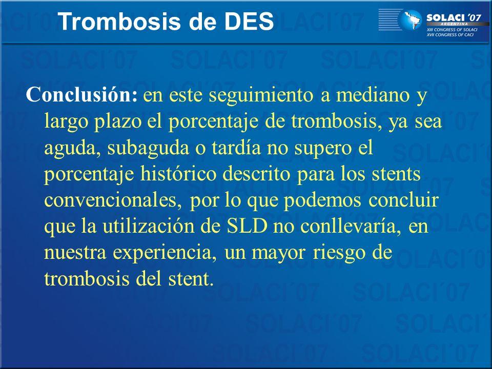 Conclusión: en este seguimiento a mediano y largo plazo el porcentaje de trombosis, ya sea aguda, subaguda o tardía no supero el porcentaje histórico