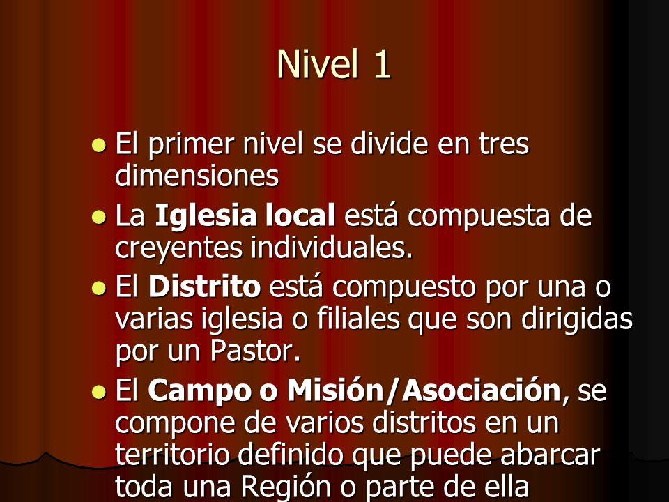 Nivel 1 El primer nivel se divide en tres dimensiones El primer nivel se divide en tres dimensiones La Iglesia local está compuesta de creyentes indiv