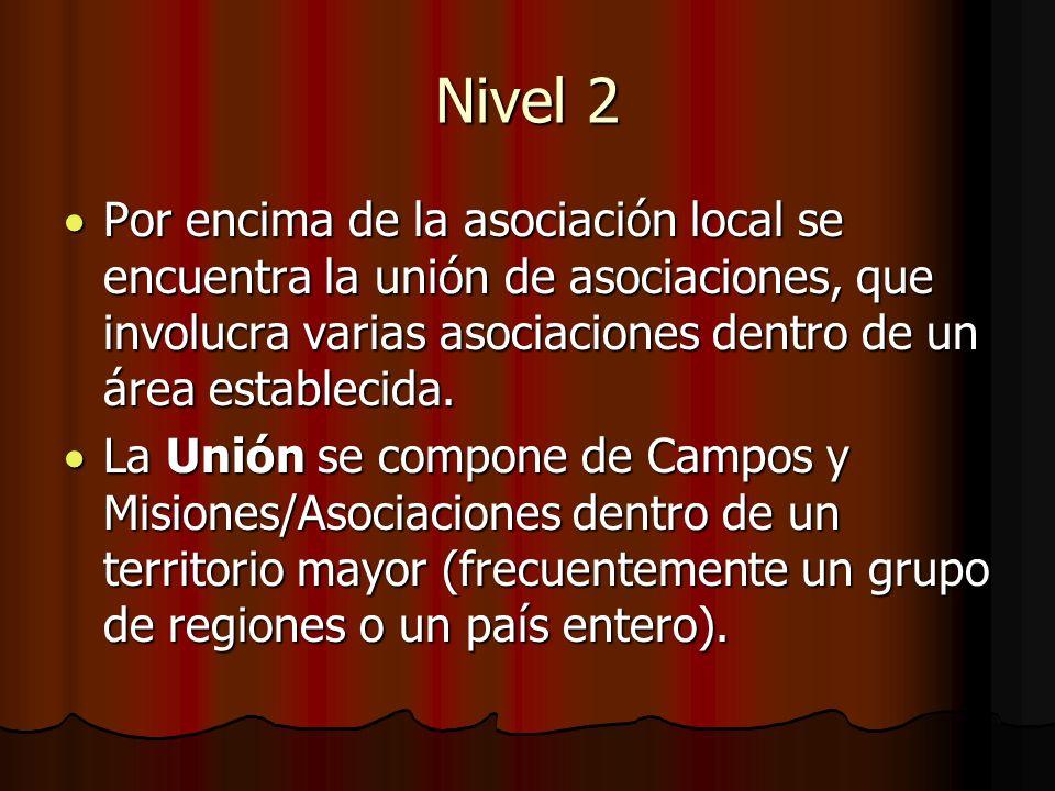 Nivel 2 Por encima de la asociación local se encuentra la unión de asociaciones, que involucra varias asociaciones dentro de un área establecida. Por
