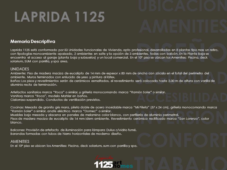 UBICACION AMENITIES DISEÑO SEGURIDAD ACCESIBILIDAD INVERSION CONFORT TRABAJO Memoria Descriptiva Laprida 1125 está conformado por 53 Unidades Funciona
