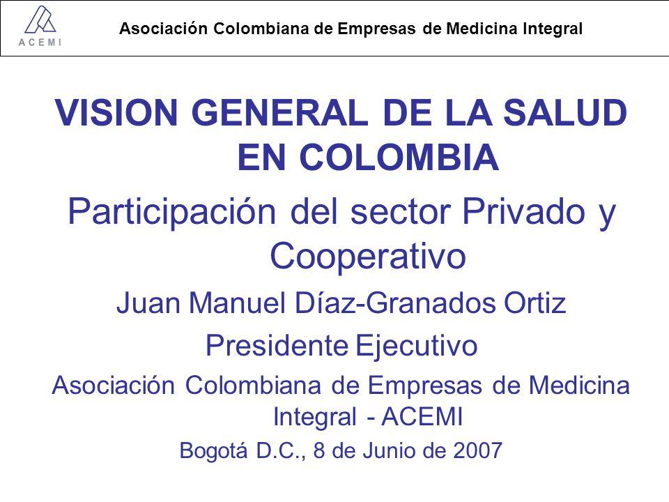 Asociación Colombiana de Empresas de Medicina Integral VISION GENERAL DE LA SALUD EN COLOMBIA Participación del sector Privado y Cooperativo Juan Manuel Díaz-Granados Ortiz Presidente Ejecutivo Asociación Colombiana de Empresas de Medicina Integral - ACEMI Bogotá D.C., 8 de Junio de 2007