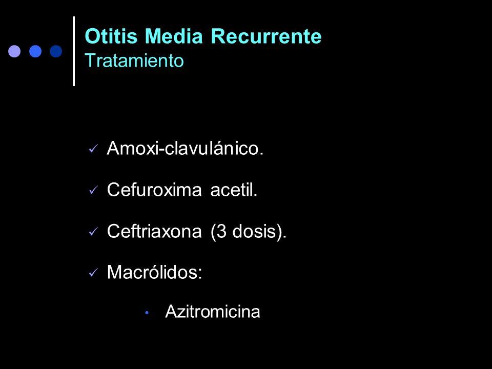 OMA persistente o recurrente Tratamiento Recomendaciones del CDC Amox/clavulánico x 10 días ( 80-90 mg/kg/día, c/12 h). Cefuroxima-axetil x 10 días (3