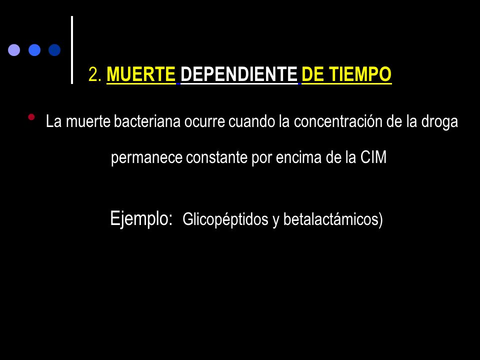 AREA BAJO LA CURVA(ABC 0-) CIM C max 0 tiempo Concentración plasmática ug/ml PEAK Pico/CIM : 8-12 ATB dosis dependiente