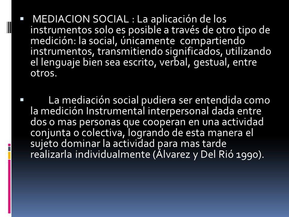 MEDIACION SOCIAL : La aplicación de los instrumentos solo es posible a través de otro tipo de medición: la social, únicamente compartiendo instrumento
