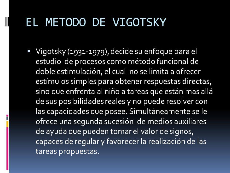EL METODO DE VIGOTSKY Vigotsky (1931-1979), decide su enfoque para el estudio de procesos como método funcional de doble estimulación, el cual no se l