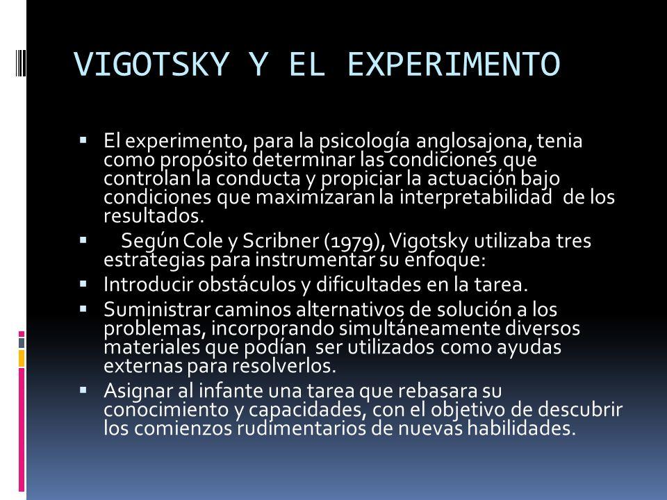 VIGOTSKY Y EL EXPERIMENTO El experimento, para la psicología anglosajona, tenia como propósito determinar las condiciones que controlan la conducta y