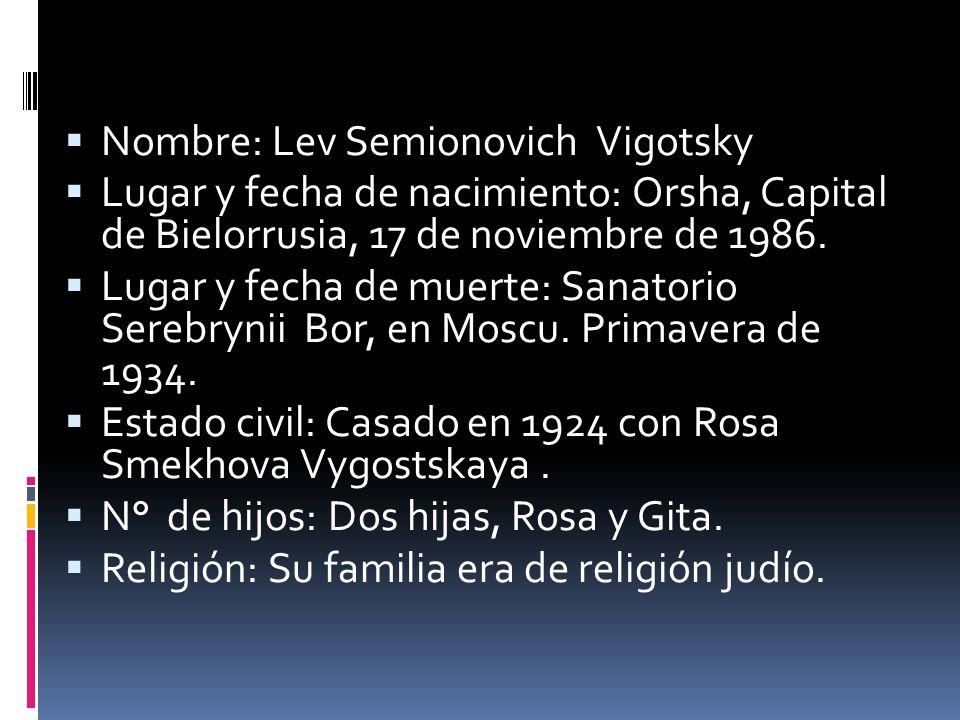 Nombre: Lev Semionovich Vigotsky Lugar y fecha de nacimiento: Orsha, Capital de Bielorrusia, 17 de noviembre de 1986. Lugar y fecha de muerte: Sanator
