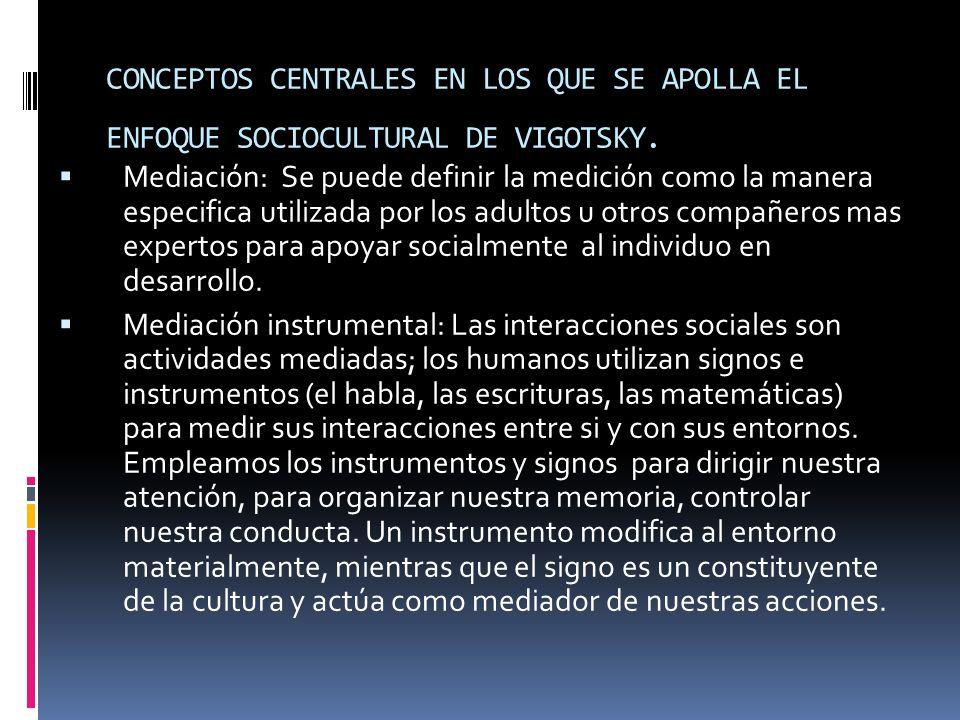 CONCEPTOS CENTRALES EN LOS QUE SE APOLLA EL ENFOQUE SOCIOCULTURAL DE VIGOTSKY. Mediación: Se puede definir la medición como la manera especifica utili