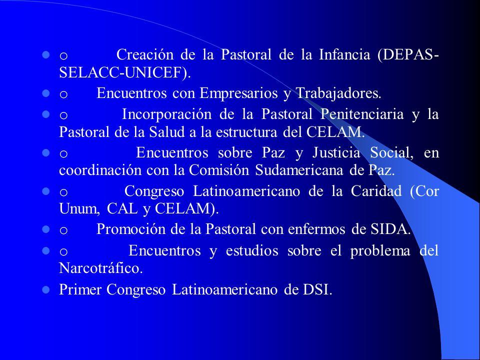 Realizaciones pastorales Actividades de Pastoral Social-Cáritas: Publicación de los Textos: Fe cristiana y compromiso social (1981); y Pastoral Social: una elaboración latinoamericana (1990).