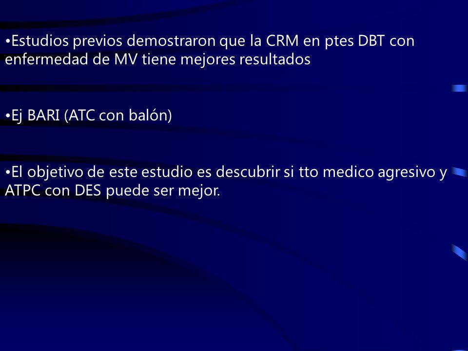 Estudios previos demostraron que la CRM en ptes DBT con enfermedad de MV tiene mejores resultados Ej BARI (ATC con balón) El objetivo de este estudio es descubrir si tto medico agresivo y ATPC con DES puede ser mejor.