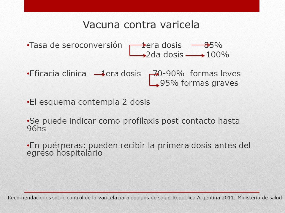 Vacuna contra varicela Tasa de seroconversión 1era dosis 85% 2da dosis 100% Eficacia clínica 1era dosis 70-90% formas leves 95% formas graves El esque