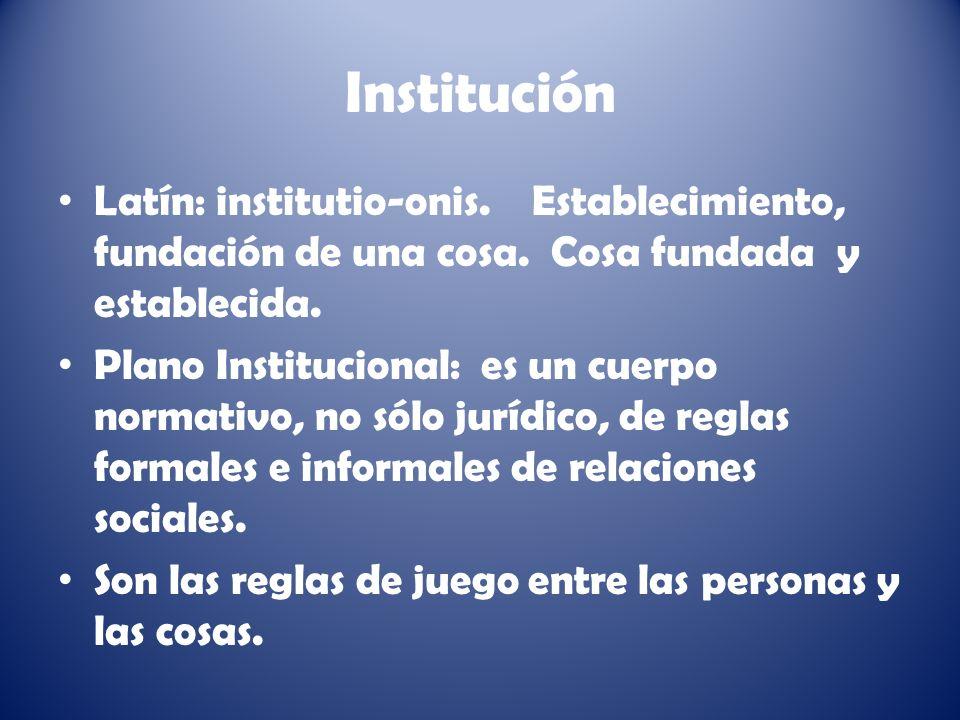 Institución Latín: institutio-onis.Establecimiento, fundación de una cosa.