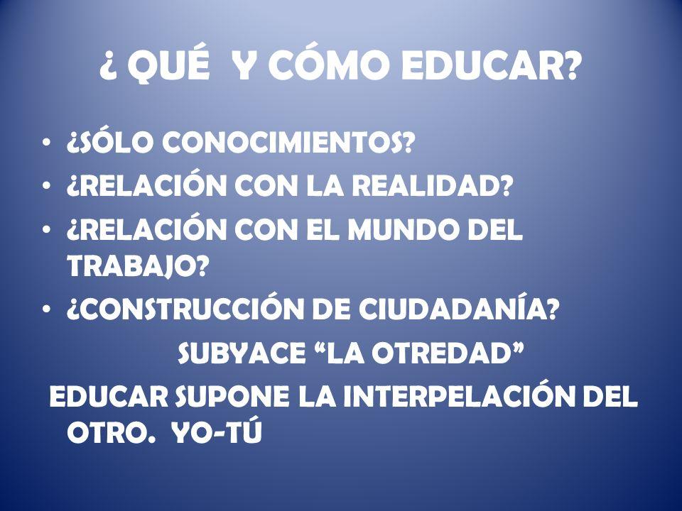 ¿ QUÉ Y CÓMO EDUCAR.¿SÓLO CONOCIMIENTOS. ¿RELACIÓN CON LA REALIDAD.