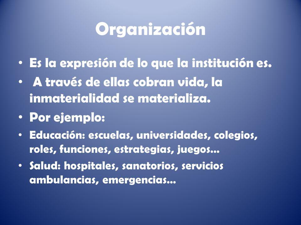 Organización Es la expresión de lo que la institución es.
