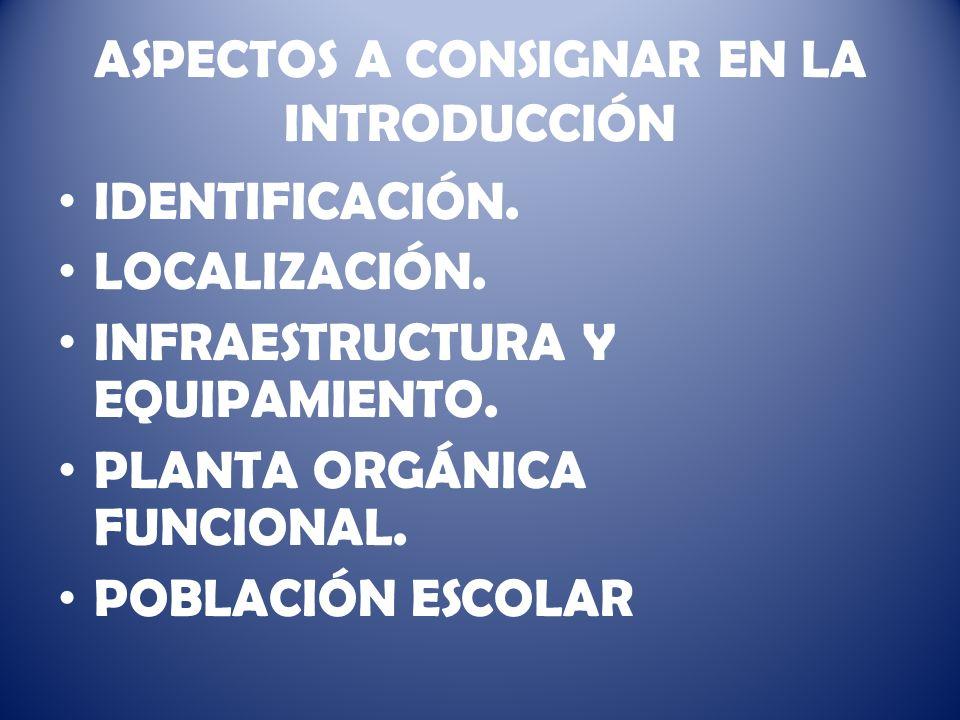 ASPECTOS A CONSIGNAR EN LA INTRODUCCIÓN IDENTIFICACIÓN.