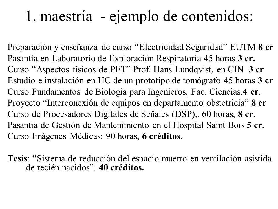 1. maestría - ejemplo de contenidos: Preparación y enseñanza de curso Electricidad Seguridad EUTM 8 cr Pasantía en Laboratorio de Exploración Respirat