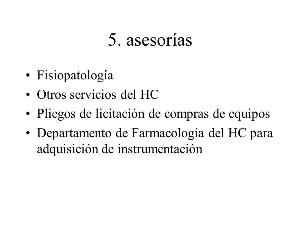 5. asesorías Fisiopatología Otros servicios del HC Pliegos de licitación de compras de equipos Departamento de Farmacología del HC para adquisición de